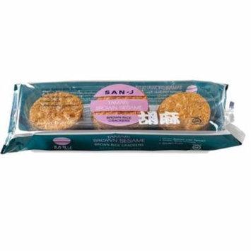 San J Tamari Brown Sesame Brown Rice Crackers, 3.7 OZ (Pack of 12)