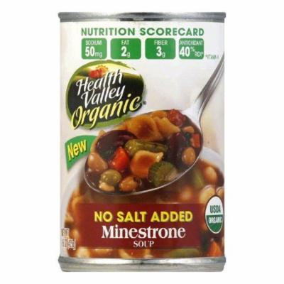 Health Valley Soup Minestrone No Salt Organic, 15 OZ (Pack of 12)