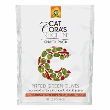 Cat Coras Kitchen Seasoned With Chili and Black Pepper Snack Pack Pitted Green Olives, 2.3 Oz (Pack of 8)