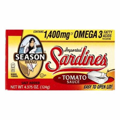 Season in Tomato Sauce Imported Sardines, 4.375 OZ (Pack of 12)