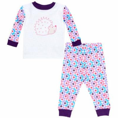 Under the Nile Organic Cotton Baby Long Johns - Plum Prism Print 12m