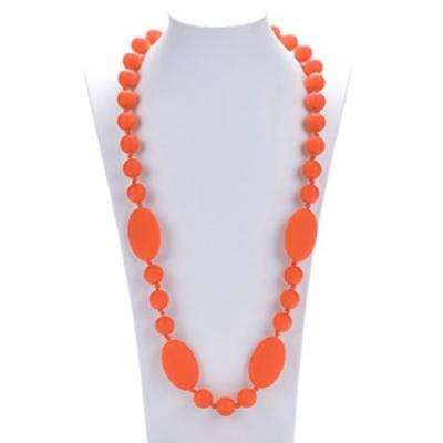 Consider It Maid Silicone Teething Necklace for Mom to Wear - BPA FREE and FDA Approved - Peas in a Pod (38 Inch Orange)