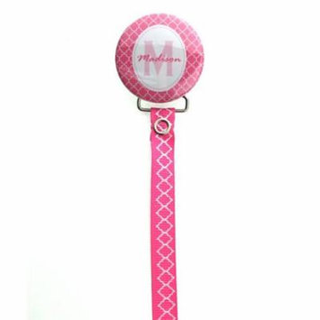 Personalized Name Hot Pink Moroccan Tile Pacifier Clip