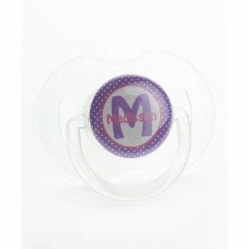 Personalized Name Purple Polka Dot Pacifier, Symmetric Newborn