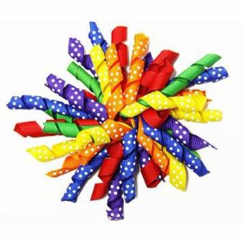 Wholesale Princess Primary Colors Rainbow Polka Dots Curly Ribbon Korker Hair Clip