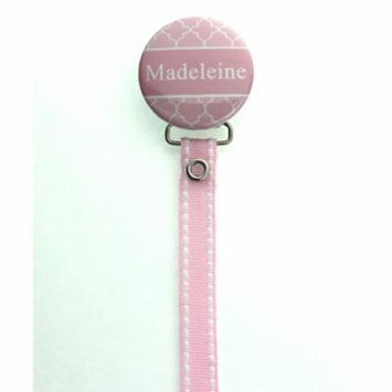 Personalized Name Pink Moroccan Tile Pacifier Clip