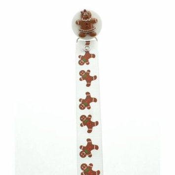 White & Brown Gingerbread Pacifier Clip
