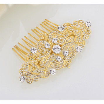 Vintage Style Crystal and Filigree Hair Comb Gold
