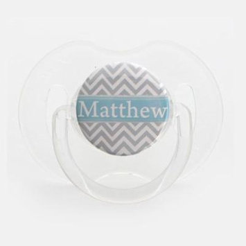 Personalized Name Grey and Blue Chevron Pacifier, Symmetric Newborn