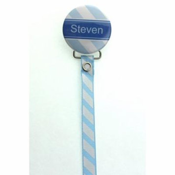 Personalized Name Light Blue Diagonally Striped Pacifier Clip