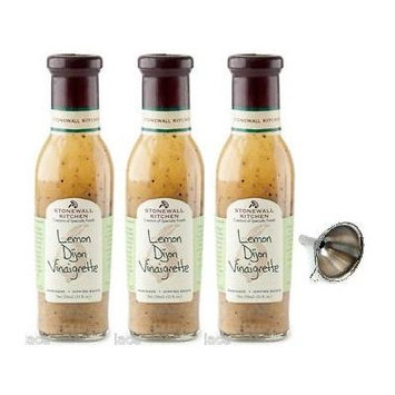 Stonewall Kitchen Lemon Dijon Vinaigrette 11 fl oz, 3 Pack With Funnel