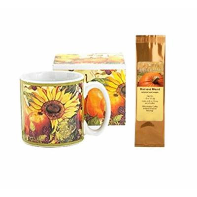 Sunflower Fall Fruits Mug and A Time To Give Thanks Caramel Maple Harvest Blend Coffee Bundle Gift Set (2 Items)