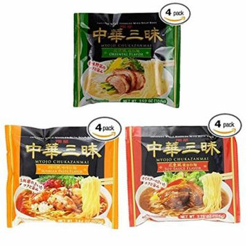 Myojo Chukazanmai Instant Ramen Assorted Soy Sauce (Pack of 4), Miso (Pack of 4), Oriental Salt (Pack of 4) Flavor, 3.73-Ounce (Total Pack of 12)