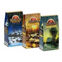 Basilur, Frosty Winter Collection, Morning, Evening, & Night Three Box Set, 100% Pure Ceylon Black Loose Tea, 100g or 3.5 oz per box (Pack of 3)