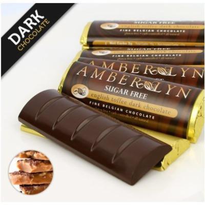 Sugar-free Dark Chocolate Bars, Low Carb, Diabetic Friendly, Gluten-free (Dark Chocolate English Toffee, 15 bars)