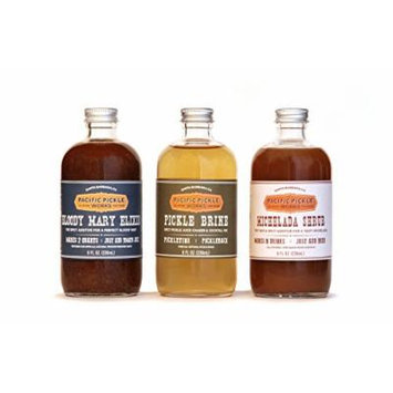 Mixed Case of Savory Cocktail Mixers (8oz 3-pack) - Bloody Mary Elixir, Michelada Shrub and Pickle Brine