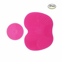 2 Pcs Makeup Brush Cleaning Mats, Silicon Brush Cleaner Pad Includes 7 Suction Cups on the Back, 1 Apple Shaped Large Mat+1 Round Shaped Mini Mat (Pink)
