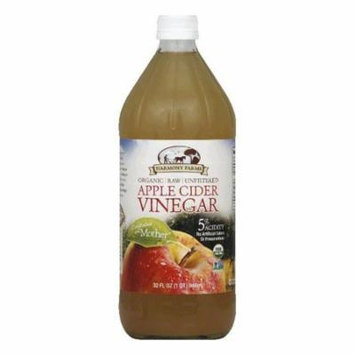 Harmony Farms Raw Unfiltered Organic Apple Cider Vinegar, 32 FO (Pack of 12)