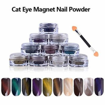 10 COLORS 1g/Box 3D Effect DIY UV Gel Poland Magic Mirror Cat Eye Magnet Dust Twinkle Nail Art Powder + Magnet Pen