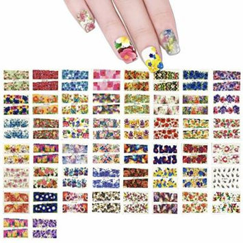 ALLYDREW 50 Sheets Flowers Water Slide Nail Art Nail Decals Water Transfer Nail Decal Sheets