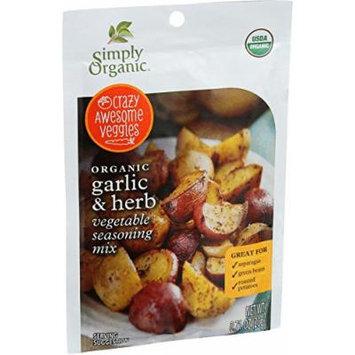 Simply Organic Vegetable Seasoning Mix - Organic - Garlic and Herb - .71 oz - Case of 12 - 95%+ Organic - Yeast Free - Vegan