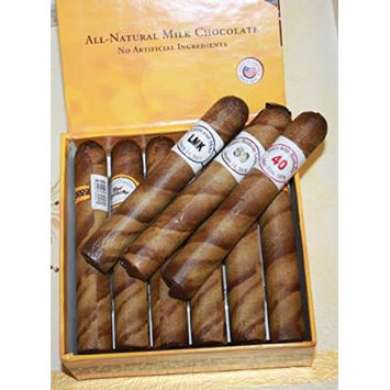 Custom Round Brown Chocolate Cigars in a Fancy Cigar Box of 12 with Personalized Cigar Bands