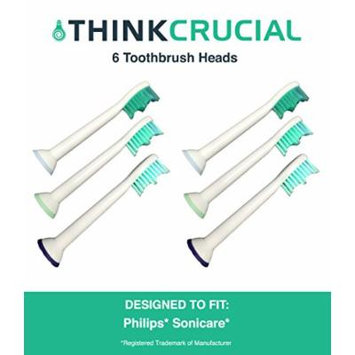 6 Premium Generic Philips Replacement Sonicare Electric Toothbrush Heads, Part # HX-6013, by Think Crucial