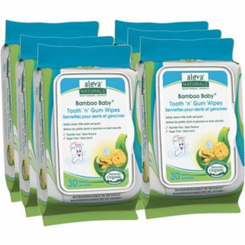 Aleva Naturals Bamboo Baby Tooth 'n' Gum Wipes, 180 Count (6 Packs of 30) - Tooth 'n' Gum Wipes - Safely Clean Little Teeth and Gums - Formulated with Pure Plant Based Ingredients and Xylitol -Added