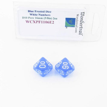 Wondertrail Products Blue Frosted Dice with White Numbers D10 Perc Aprox 16mm (5/8in) Pack of 2 Wondertrail