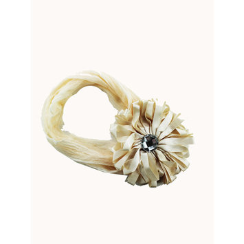 Flower Bud w/ Gem Headband Flower Headband (Cream)