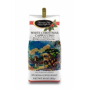 Hawaiian Isles White Christmas Cappuccino Kona Coffee Ground 10 oz.