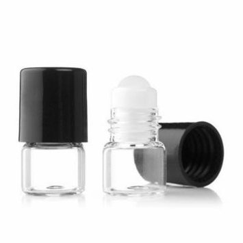 Grand Parfums Empty 1ml Micro Mini Rollon Dram Glass Bottles with Glass Roller Balls - Refillable Aromatherapy Essential Oil Roll On (24 Sets)