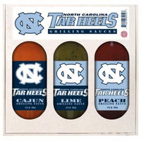 North Carolina Tar Heels NCAA Grilling Gift Set (12oz Cajun, 12oz Lime, 12oz Peach)