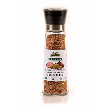 Himalayan Chef Blend of Organic Onion & Crushed Pepper With Himalayan Pink Salt In An Adjustable & Refillable Glass Grinder, Seasoning Blend
