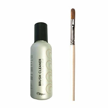 Bundle of Two Items: Tammy Taylor Medium Flat Red Sable Acrylic Brush & Conditioning Brush Cleaner 4 oz Set
