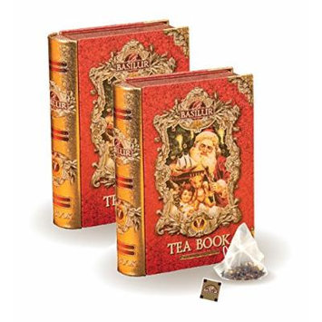 Basilur , Mini Tea Books in Metal Caddy , Pyramid Tea Bags , 100% Pure Ceylon Tea , 5 Luxury Leaf Pyramid Sachets Per Tin , Pack of 2