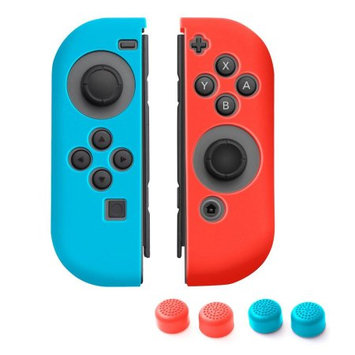 Nintendo Switch Joy-Con case, by Insten (Left BLUE + Right RED) Nintendo Switch Joy-Con Skin Case Cover with 2-Pcs Thumb Grip Stick Caps (Style 1) For Nintendo Switch Joy Con Left/Right Controller