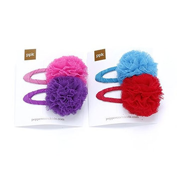 Peppercorn Kids Girls 2PC Tulle Pompom Hair Clip Set of 2 (Purple/ Blue)