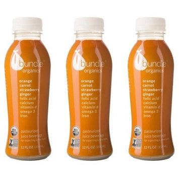 Bundle Organics Orange Carrot Strawberry Ginger Juice for Pregnant and Nursing Moms -Three 12oz bottles