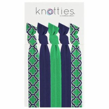 Condition Culture Girls Green Navy Quatrefoil Pattern Knotties Hair Ties