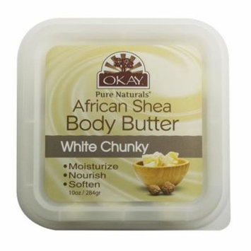 Okay Shea Butter Deep Moisturizing Body Butter, White Chunky, 10 Oz