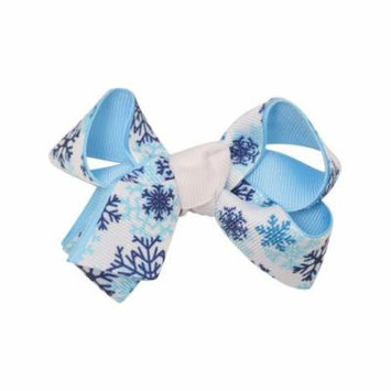 Reflectionz Girls White Blue Shade Snowflake Print Bow Hair Clippie