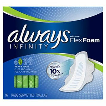2 Pack - Always Infinity Pads with Flexi-Wings Unscented Heavy Flow 16 Each