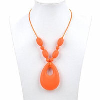 Consider It Maid Silicone Teething Necklace for Mom to Wear - BPA FREE and FDA Approved - Baby Love (Orange)