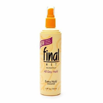 Final Net Unscented All Day Hold Hairspray, Extra Hold 12 fl oz (PACK OF 12)