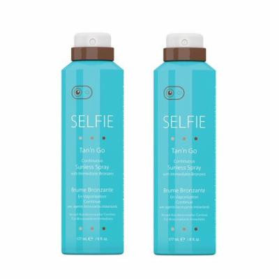 Selfie Tan'n Go Continuous Sunless Spray with Immediate Bronzers, Medium Tan, 6 Oz (Pack of 2)