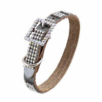 Pewter Silver Leather Dog Collar with 4 Rows of High Quality Clear Rhinestones And Rhinestone Buckle, Size Large