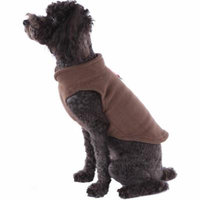 Solid Fleece Vest Soft Dog Sweater Harness with O-Ring, Brown, Medium