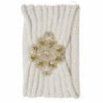 Womens Knitted Headband w/ Plastic Pearl Piece