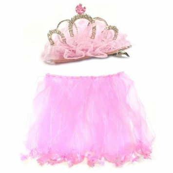 Wrapables® Little Girls Fairy Tiara Hair Clip and Tutu Set O/S, Pink